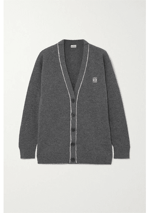 Loewe - Embroidered Wool Cardigan - Gray