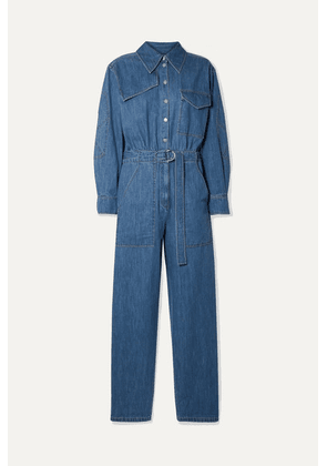 Tibi - Belted Denim Jumpsuit - Mid denim