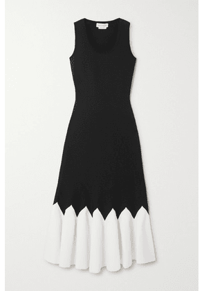 Alexander McQueen - Two-tone Stretch-knit Peplum Midi Dress - Black