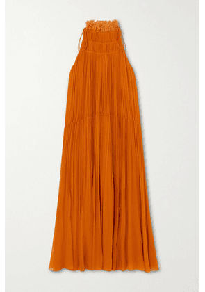 Chloé - Ruffled Embroidered Tulle-trimmed Silk-crepon Midi Dress - Orange