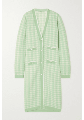 Miu Miu - Faux Pearl-embellished Houndstooth Wool-blend Cardigan - Mint