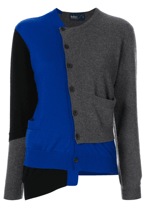 Kolor patch panelled asymmetric cardigan - Blue