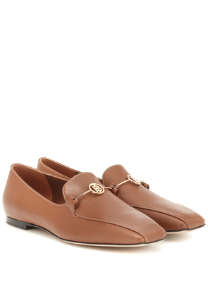 Monogram leather loafers