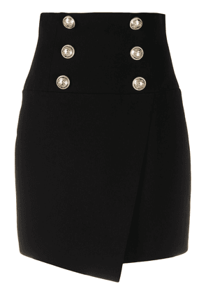 Balmain embossed buttons fitted skirt - Black
