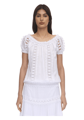 Maca Embellished Cotton Lace Top
