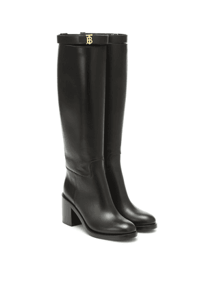 Monogram leather knee-high boots