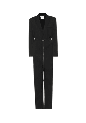 Leather-trimmed wool jumpsuit