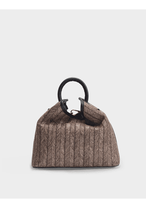 Raisin Bag in Brown and Black Raffia and Leather