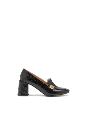 Mulberry Keeley Pyramid Heeled Loafer in Black Croc Print