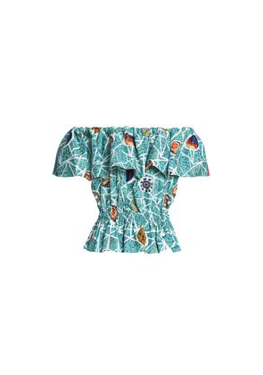 Stella Jean Off-the-shoulder Ruffled Printed Cotton-poplin Top Woman Turquoise Size 38