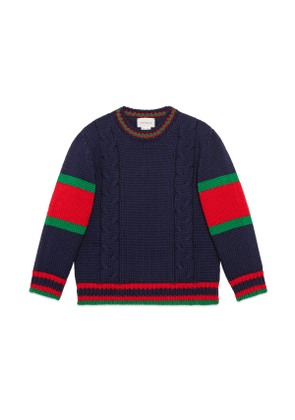 Children's cable knit wool jumper
