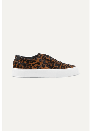 SAINT LAURENT - Venice Logo-print Leather-trimmed Leopard-print Calf Hair Sneakers - Leopard print