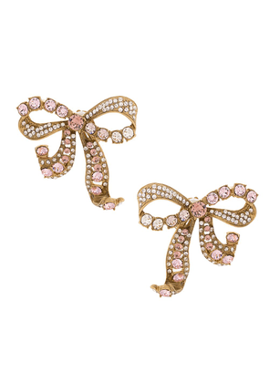 Dolce & Gabbana crystal bow clip-on earrings - GOLD