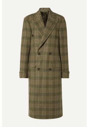 R13 - Oversized Leopard-print Cotton-trimmed Checked Wool-twill Coat - Green