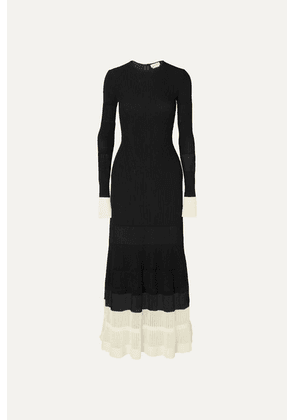 Alexander McQueen - Two-tone Paneled Ribbed-knit Maxi Dress - Black