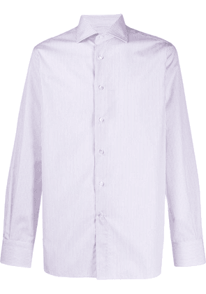 Canali long sleeved striped shirt - White