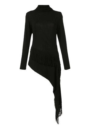 Josie Natori fringed knitted top - Black