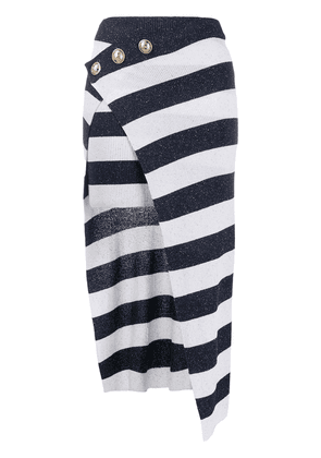 Balmain striped wrap skirt - Blue