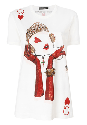 Dolce & Gabbana Queen Playing Card print T-shirt - White