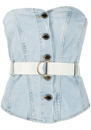Pinko Comfort denim bustier top - Blue