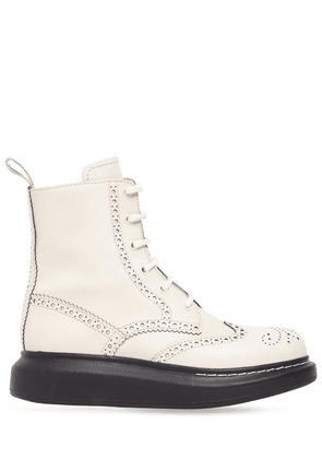 40mm Hybrid Brogue Leather Lace-up Boots