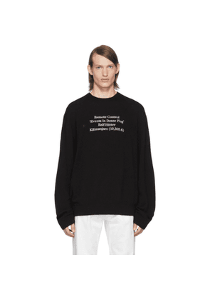 Raf Simons Black Merino Remote Control Sweater
