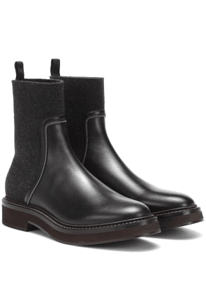 Leather and cashmere ankle boots
