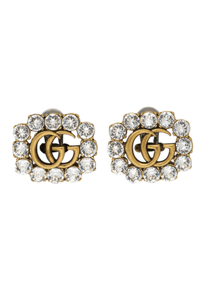 Gucci Gold Crystal GG Marmont Stud Earrings
