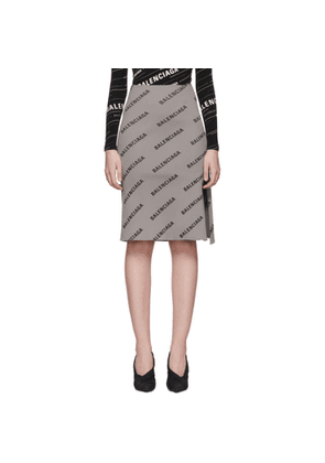 Balenciaga Grey Ribbed Logo Skirt