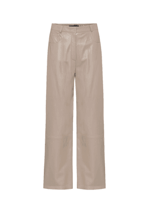 High-rise wide-leg leather pants