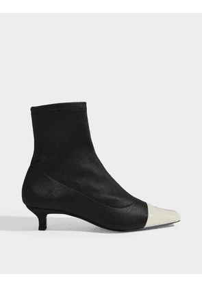 Karl Two-Tone Ankle Boots in Black Stretch Leather