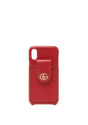 Gucci - GG-plaque Grained-leather Iphone X Case - Womens - Red