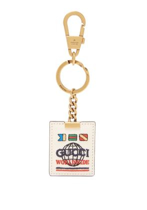 Gucci - Worldwide-embroidered Leather Key Ring - Mens - White
