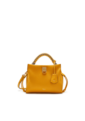 Mulberry Small Iris in Deep Amber Heavy Grain and Silky Calf Solid Grey - Deep Amber handle