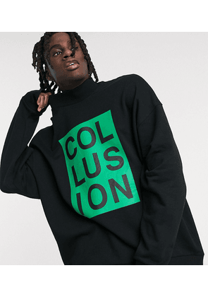 COLLUSION oversized sweatshirt with high neck zip-Black