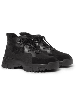 Tod's - Shearling-lined Suede, Leather And Mesh Boots - Black