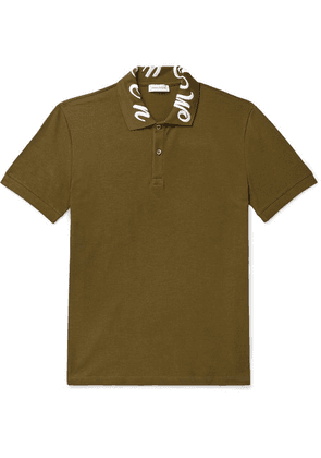 Alexander McQueen - Slim-fit Logo-embroidered Cotton-piqué Polo Shirt - Army green