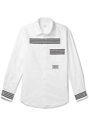 Burberry - Slim-fit Striped Logo-embroidered Cotton Oxford Shirt - White