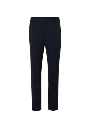 Fendi - Navy Tapered Satin-trimmed Wool Trousers - Blue