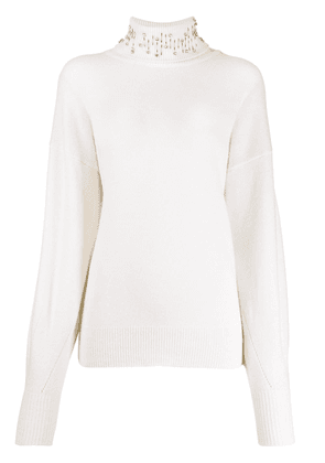 Pinko embellished rollneck sweater - White