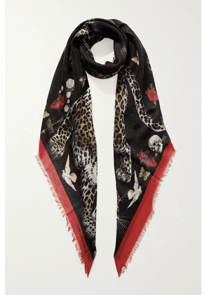 Alexander McQueen - Regal Leopard Printed Modal And Wool-blend Scarf - Black