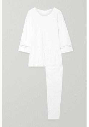 Hanro - Ilona Lattice-trimmed Mercerized Cotton-jersey Pajama Set - White