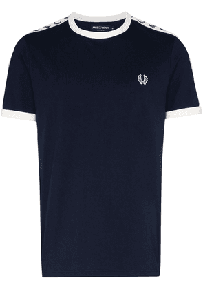 Fred Perry logo-embroidered cotton T-shirt - Blue