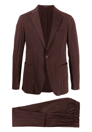 Tagliatore crinkled two-piece suit - Red