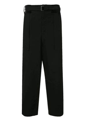 Sacai belted wide leg trousers - Black