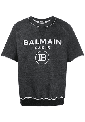Balmain short-sleeve logo sweatshirt - Black