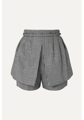 Alexander McQueen - Layered Prince Of Wales And Houndstooth Checked Wool Shorts - Black