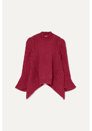 Stella McCartney - Cable-knit Alpaca-blend Sweater - Plum
