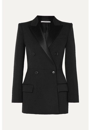 Givenchy - Double-breasted Satin-trimmed Wool-blend Twill Blazer - Black