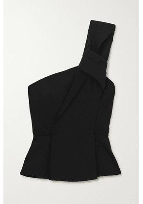 Roland Mouret - Whitefield One-shoulder Knotted Crinkled-cady Peplum Top - Black